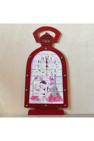 Ceas de perete  lampa rosie (29.5x59x3.5cm)