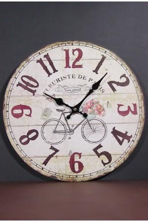 Ceas de perete rotund din lemn - Bicicleta cu flori (34cm)