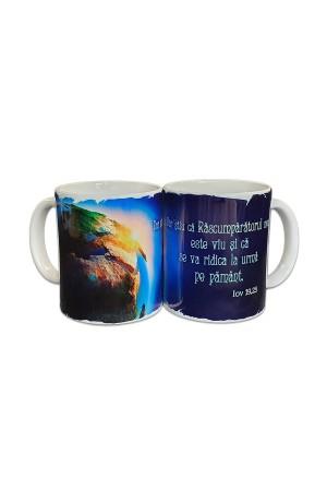 Cană cu mesaj creștin - Dar stiu ca Rascumparatorul meu.. (Iov 19,25)