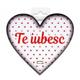 Placheta lemn - Te iubesc (10 x 9.5 cm)