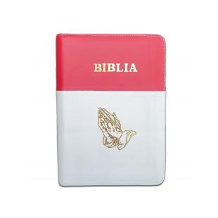 Biblia format mic, din piele, culoare rosu cu alb, index, fermoar, margini argintii, simbol maini in rugaciune, cuv. lui Isus in rosu [047 PFI]