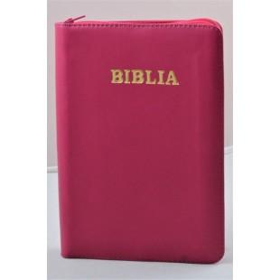 Biblie din piele, marime medie, culoare roz inchis, fermoar, index, margini aurii, cuv. lui Isus cu rosu [SB 057 PFI]