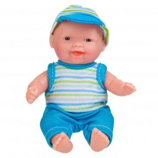 Papusa bebe, haine albastre cu dungi 13cm - Jucarii pentru copii