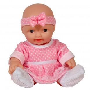 Papusa bebe rochie roz cu bentita - Jucarii pentru copii
