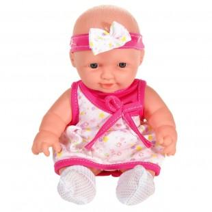 Papusa bebe rochie alba cu fundita - Jucarii pentru copii
