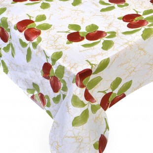 Fata de masa, alba, mere rosii cu frunze 130x170 cm