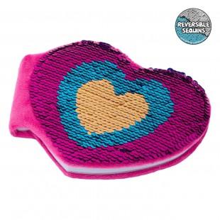 Carnet in forma de inima, roz cu paiete