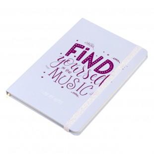 Carnet A5, albastru deschis, elastic alb - Find yourself in the music