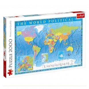 Puzzle Trefl - Harta politica mondiala, 2000 piese - Activitati pentru copii (5+)