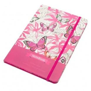 Carnet A5, roz, fluturi, elastic roz