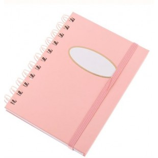 Carnetel A6 cu spirala, roz, elastic roz