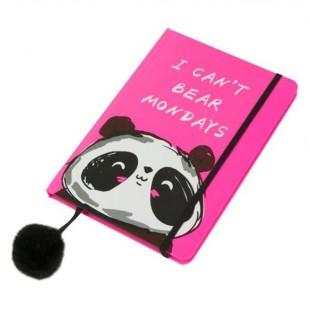 Carnet A5, roz, panda, elastic negru - I can't bear mondays