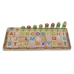 Puzzle din lemn - Litere si Cifre - Activitati pentru copii (5+)