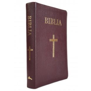 Biblia marime medie, din piele, visinie, index, cu cruce, aurita [063 PI]