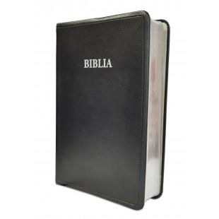Biblia traducere literala noua, marime medie, coperta piele, neagra, argintata, 19 harti biblice