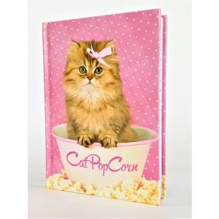 Carnetel A6, roz - Cat Pop Corn