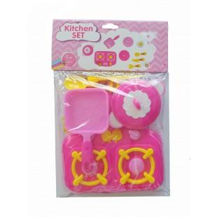 Set ustensile de bucatarie roz - Jucarii pentru copii (3+)