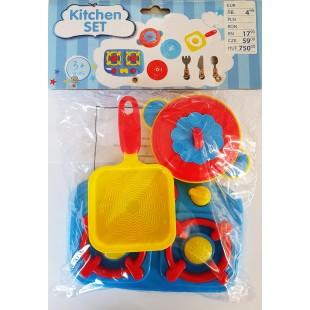 Set ustensile de bucatarie albastru - Jucarii pentru copii (3+)
