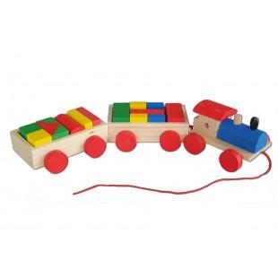 Jucarie din lemn - Tren cu forme geometrice
