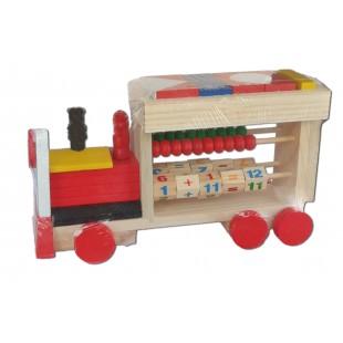 Jucarie din lemn - Locomotiva cu socotitoare si forme geometrice