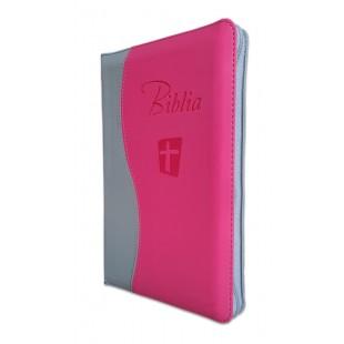Biblia Noua Traducere (Biblia NTR), marime mare, coperta imitatie piele, gri/roz, fermoar, index, margini argintii