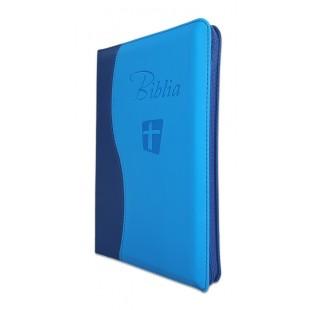 Biblia Noua Traducere (Biblia NTR), marime mare, coperta imitatie piele, albastra, fermoar, index, margini argintii