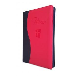 Biblia Noua Traducere (Biblia NTR), marime mare, coperta imitatie piele, negru/rosu, fermoar, index, margini argintii