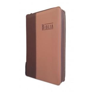 Biblia Noua Traducere (Biblia NTR), marime mare, coperta imitatie piele, maro, fermoar, index, margini argintii