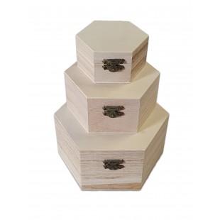 Set 3 cutii hexagonale din lemn