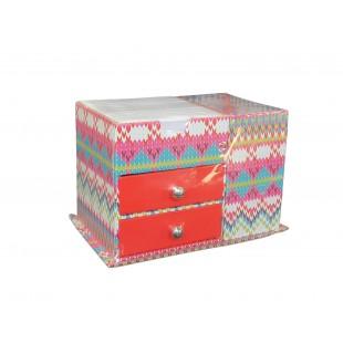 Suport birou din carton cu 2 sertare pentru notes si instrumente de scris