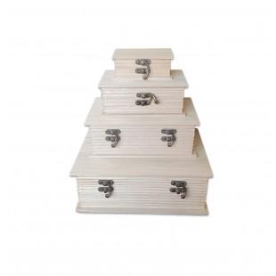 Set 4 cutii depozitare din lemn