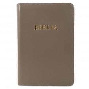Biblie din piele, marime medie, nuanta de gri, fermoar, index, margini aurii, cuv. lui Isus cu rosu [SB 057 PFI]