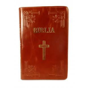 Biblie mare, piele, handmade, culoare maro, fermoar, index, margini argintii, simbol cruce, cuv. Isus cu rosu [SI 076 HM]