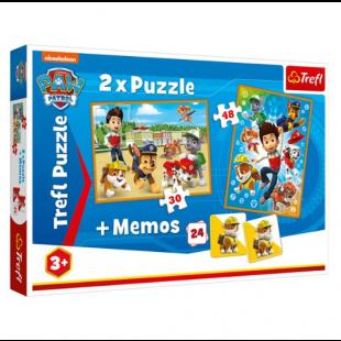Puzzle Trefl - Paw Patrol, 2 in 1 + Memos - Activitati pentru copii (3+)