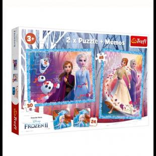 Puzzle Trefl - Frozen 2, 2 in 1 + Memos - Activitati pentru copii (3+)