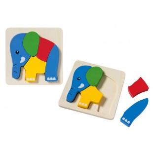 Puzzle din lemn pentru copii - Elefant (1+)