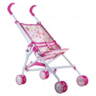 Cărucior pentru păpuși Flori (roz)
