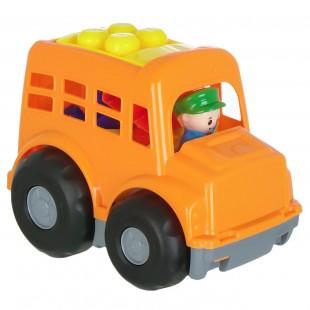 Tractor portocaliu + 7 cuburi mari