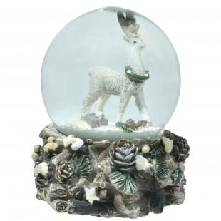 Ornament de Craciun - Glob cu fulgi de zapada si ren (4,5x6 cm)