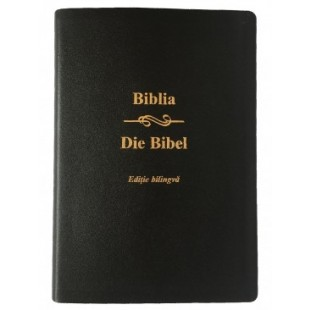 Biblia bilingva romana - germana, mare, piele, neagra, aurita