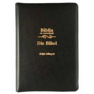 Biblia bilingva romana - germana, cu concordanta, mare, piele, neagra, aurita, fermoar