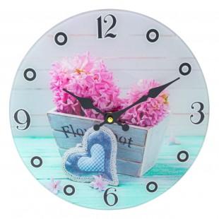 Ceas de perete rotund din sticla - flori (30cm)