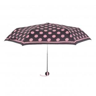 Umbrela adulti pliabila - Neagra cu buline roz (24 cm)
