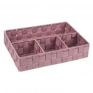 Coș de depozitare tricotat din ratan roz