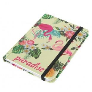 Carnetel A6, verde-auriu, flamingo, elastic negru - Paradise