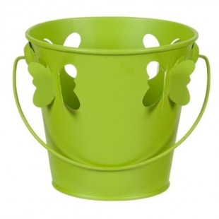 Masca pentru ghiveci, de metal, verde, in forma de galeata - Fluturi 3D (11x10.5cm)