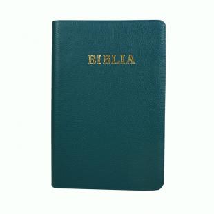 Biblie mare, piele, nuanta de verde, fermoar, index, margini argintii, simbol simpla, cuv. Isus cu rosu [SI 073 PFI]