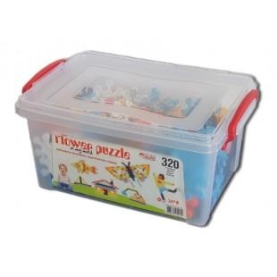 Cuburi de construit din plastic , multicolore, 320 de piese (3+)