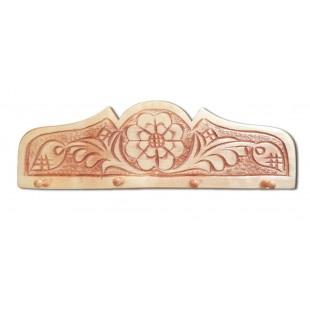 Cuier, suport chei - din lemn cu modele de flori ( 33x10.5cm)