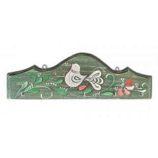 Cuier, suport chei - din lemn cu model cu pasare si flori, verde inchis (31x10cm)